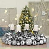 Deuba Weihnachtskugeln Silber 100 Christbaumschmuck Aufhänger Christbaumkugeln für den Weihnachtsbaum Weihnachtsbaumschmuck Weihnachtsbaumkugeln - 2