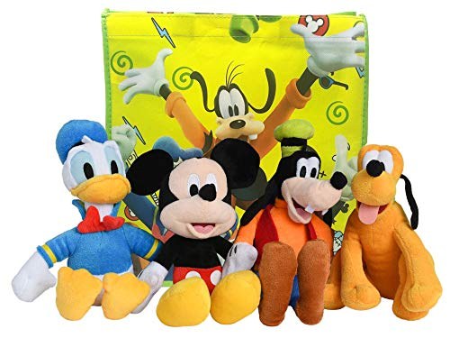 """Disney 11"""" Plush Mickey Mouse, Donald Duck, Goofy & Pluto 4-Pack in Gift Bag"""