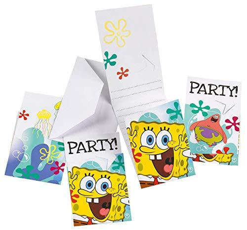 Amscan 997781 - Einladungskarten Sponge Bob mit Umschlägen, 6 Stück, Kindergeburtstag
