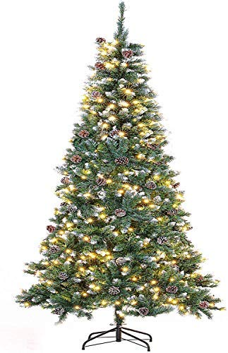 Skiway Pre-lit Spruce Hinged Christmas Tree, Artificial Holiday Metal Stand Tree with Light and Pine Cones (Green, 7feet)