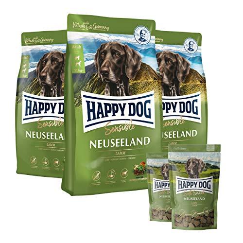 Happy Dog - Neuseeland Lamm & Reis 3 x 4 kg stets frischer Beutel + 2 x 100 g Softsnack Neuseeland (wiederverschließbar) gratis