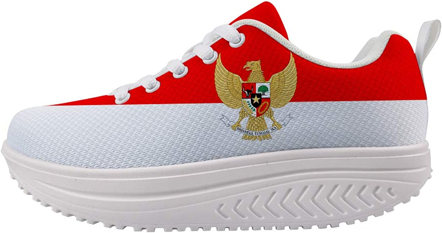 Owaheson Swing Platform Toning Fitness Casual Walking shoes Wedge Sneaker Women Indonesia Flag National Emblem