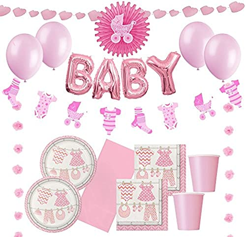 partypartycompany Bündel der Freude Rosa Baby Dusche   Taufe Ultimate Party Pack (32 Menschen)