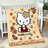 Blanket Cartoon Hello Kitty Printing Throw Blanket Soft Cover Flannel Cozy Plush Fleece Blanket for Boys Girls Kids Toddler Baby (Brown)