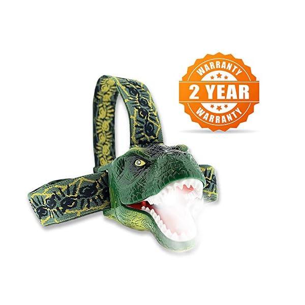 El faro LED original de DinoBryte - Linterna frontal de dinosaurio T-Rex para niños | De cabeza de juguete de dinosaurio… 2