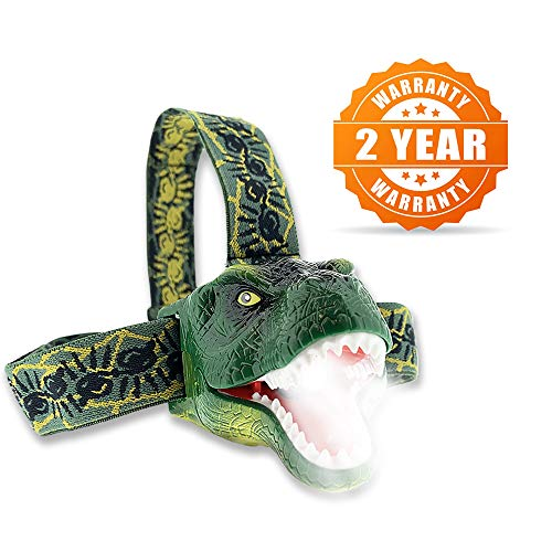 The Original DinoBryte LED Headlamp - T-Rex Dinosaur Headlamp for Kids | Dinosaur Toy Head Lamp for Boys, Girls, or Adults | Perfect for Camping, Hiking, Reading, and Parties