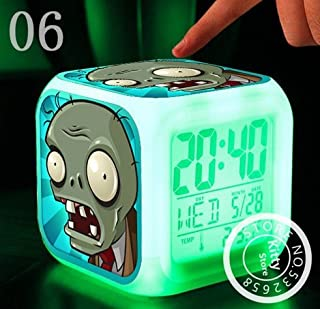 AThiToZone (arrive within 3-5 weeks). Hot PVC Toys Hobbies Plants VS Zombies Cartoon Games Action Figure 7 Colors Change Digital Alarm LED Clock Cartoon Night Colorful Toys for Kids (Style 6)