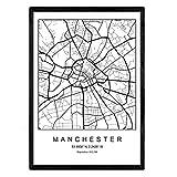 Nacnic Blade Manchester City Map nordischen Stil schwarz