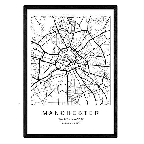 Nacnic Lámina Mapa de la Ciudad Manchester Estilo nordico en Blanco y Negro. Poster tamaño A3 Sin Marco Impreso Papel 250 gr. Cuadros, láminas y Posters para Salon y Dormitorio