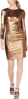Calvin Klein womens Long Sleeve Metallic Cocktail Dress With Side Ruche Dress