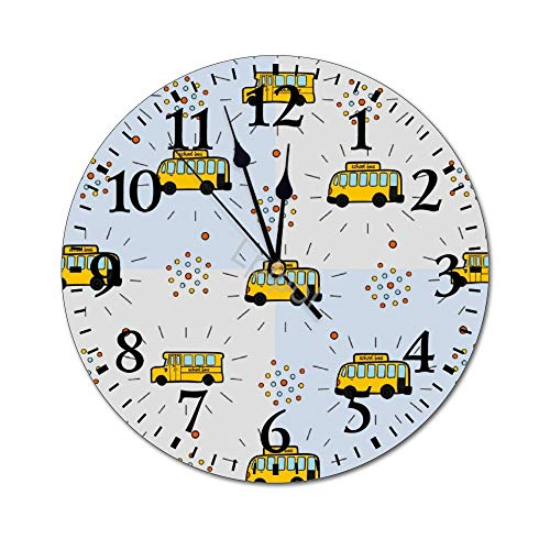Lplpol Fashion PVC Wall Clock School Bus Pattern Batik 25cm/9.84in Round Wall Clock Non Ticking Silent Decorative Wall Clock