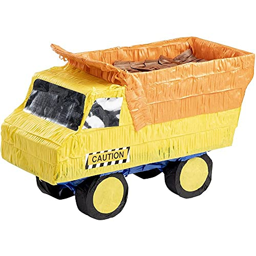 Small Dump Truck Pinata, Kids Construction Birthday Party Supplies, 15.5 x 9 x 6 Inches