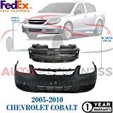 Autoelementss New Front Bumper Cover Primed + Grille Primed Shell and Insert for 2005-2010 Chevrolet Cobalt Base/LS/LT/LS (Coupe & Sedan) Direct Replacement GM1000733 GM1200545