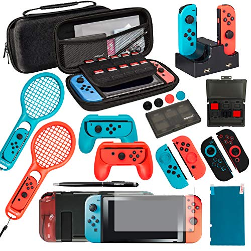 Ultimate Nintendo Switch Accessories Bundle Prestige Edition – Includes Travel Case, Screen Protectors, TPU Cases, Steering Wheels, Rackets, and more!