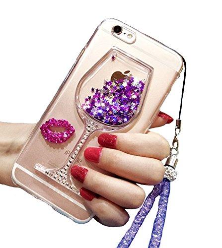 Funda linda para iPhone 7 Plus, 7 Plus, con purpurina líquida, copa de vino de limón, color negro, arena movediza, flotante, brillante, para niñas con cordón para el cuello (morado)
