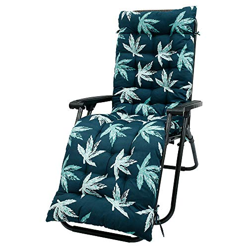 Sun Lounger Cushions Replacement Garden Recliner Lounge Pad Chair Cushion Pad Bench Cushions for Travel Holiday Window Cushion Garden Indoor Outdoor 170x53x8cm, Cushion Only (Leaves)
