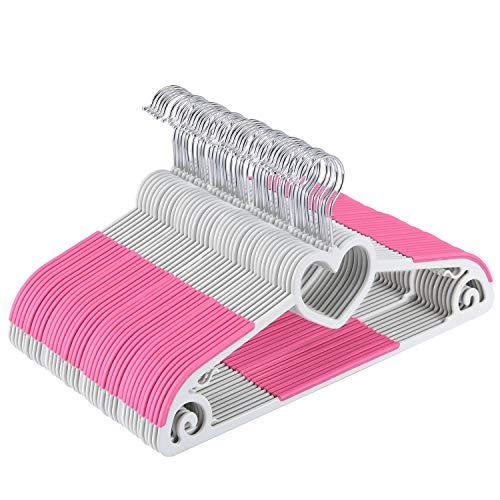 Yoassi Set di Grucce Appendiabiti con Gancio Rotante di 360°per Adulti/Grucce Antideformazione Antiscivolo in ABS Plastica per Completi Abiti Pantaloni Vestiti Cravatta 40 Pezzi Pink Forma Cuore