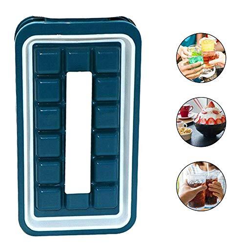 QQBB Eiswürfelschalen mit Deckel, tragbare Eiswürfelform Auslaufsichere Eiswürfelschale für Saft, Schokolade, Süßigkeiten, Götterspeise