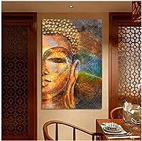 キャンバスウォールアートモダンポスターとプリントウォールアートクラシック抽象ゴールデンブッダの写真リビングルームの家の装飾60x80cmフレームなし