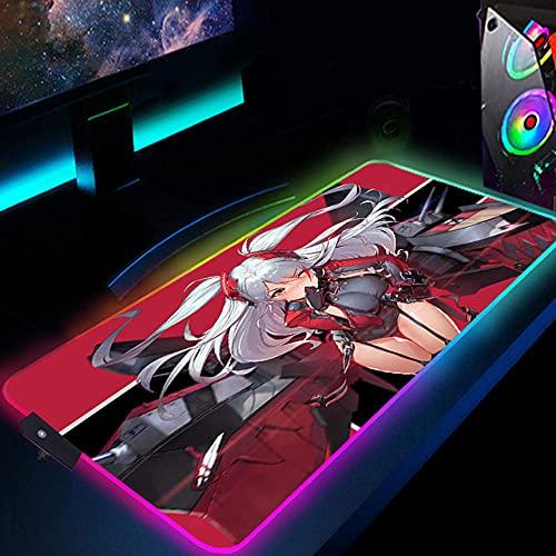 Alfombrilla de ratón Alfombrilla de ratón RGB Grande para Chica Anime Azur Lane,Alfombrilla de ratón Suave LED XXL con 14 Luces para Ordenador portátil,Jugador/Oficial 11.8'x27.6'