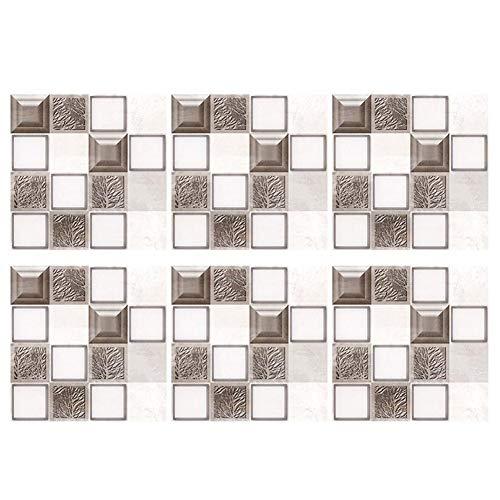 Papel pintado para azulejos de cocina, 6 unidades, impermeable, mosaico, adhesivo decorativo para la cocina (MSC033)