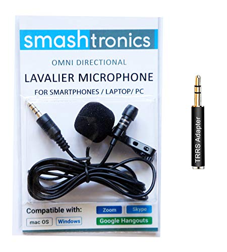 Smashtronics - Collar Clip Microphone Omnidirectional Mic with Easy Clip On System Perfect for Recording YouTube/Interview/Video Conference/Podcast/iPhone/Android (with TRRS Adapter)