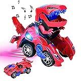 Zwini la transformación de Dinosaurio Coche con tecnología de luz led música transformación Dinosaurio Juguetes Flexible de la batería (Rojo)