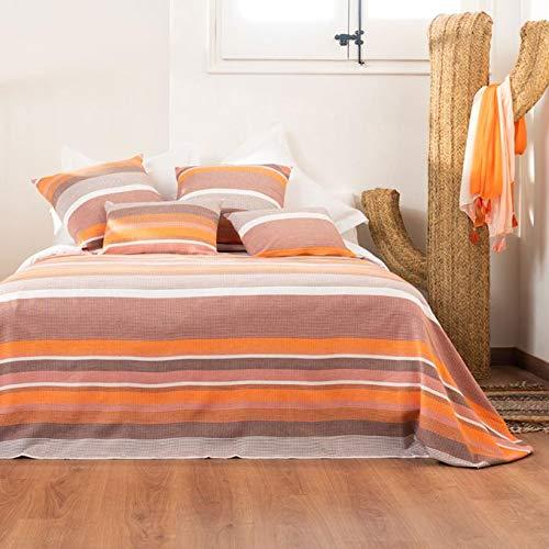 La Mallorquina - Colchas de Verano Estampadas - Colcha de Algodón - Suave y Ligera - Colcha de Cama (Cama 180 o 200 cm - 280x260 cm, Desert - Naranja)