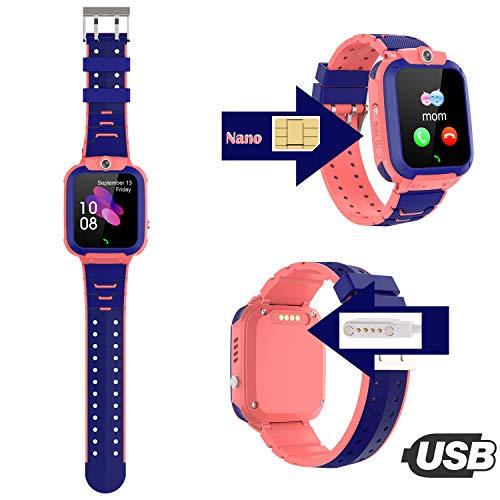 PTHTECHUS Kinder GPS Intelligente Uhr Wasserdicht, Smartwatch GPS Tracker mit Kinder SOS Handy Touchscreen Spiel Kamera Voice Chat Wecker für Jungen Mädchen Student Geschenk (S12 GPS Pink)