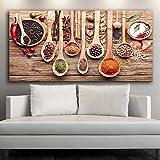 ganlanshu Carteles e Impresiones de Pared con temática de Cocina con Varios condimentos sobre Lienzo, impresión en la Pared, decoración de Lienzo,Pintura sin Marco,60x120cm