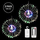 2 Pack DIY Firework String Light, 198LED 8 Modes Dimable Hanging Fairy Lights with Remote Control, Waterproof Battery Operated Copper Wire Light, Decorative Lights for Party, Home, Outdoor Dinner