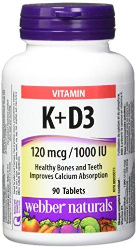 Webber Naturals Vitamin K1 and Vitamin D3 Tablet, 120mcg/1000 IU