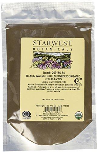 Starwest Botanicals Black Walnut Hull Powder Wildcrafted, 4 Ounces