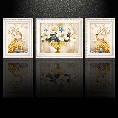 Ali@ 3 Multi murale Set bois solide Lucky cerf Triptyque salon murale pour salon/avec photos (Couleur : Pearl white, taille : A section)