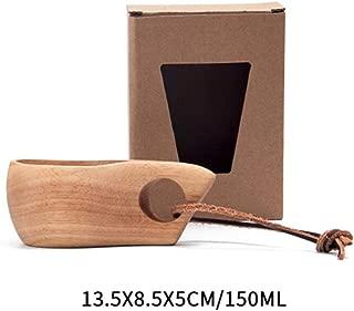 木製ポータブル旅行コーヒーカップ飲料水軽量屋外キャンプカップ天然広葉樹茶コーヒーカップハンドル強く、耐久性