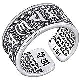 shenruifa Regalo de San Valentín personalizado, anillo de plata budista tibetano sutra declaración, anillo ajustable para hombres y mujeres