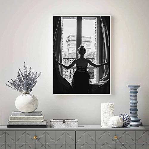 Prints Op Canvas Nordic Zwart-Wit Venster Meisje Canvas Schilderij Mooie Vrouw Posters Woonkamer Home Decor 30x65 Cm Frameloze