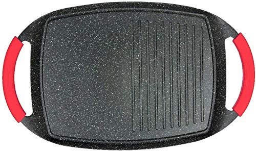 SILVANO Plancha de Asar Tipo Piedra inducción vitro Fuego Asas con Silicona 36x23cm