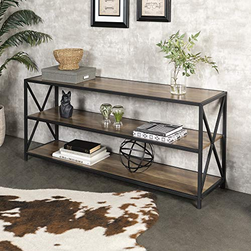 Walker Edison 2 Shelf Industrial Wood Metal Bookcase Bookshelf Storage, 60 Inch, Rustic Oak