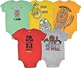 Star Wars Baby Boys 5 Pack Bodysuits Princess Leia Yoda Han Solo R2D2 C3PO 0-3 Months