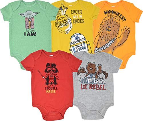 Star Wars Baby Boys 5 Pack Bodysuits Princess Leia Yoda Han Solo R2D2 C3PO Newborn