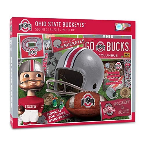 YouTheFan NCAA Ohio State Buckeyes Retro Series Puzzle - 500 Pieces, Team Colors, Large