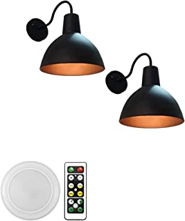 GYC 2-Lights 100 Lumens Multi-Function Battery Run Remote Control Wireless Black Metal Wall Sconce Fixture Wall Decor for ...