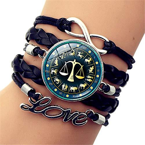 SLVVL Twaalf Constellatie Weegschaal Tijd Edelsteen Armband Liefde Letter Multilayer Gevlochten Armband Sieraden