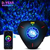Star Projector Galaxy Projector Night Light Work with Alexa Bluetooth Music Speaker Ocean Wave Star Light Projector Star Lights for Bedroom for Baby Kids Adults Decoration Party Room(WiFi Control)