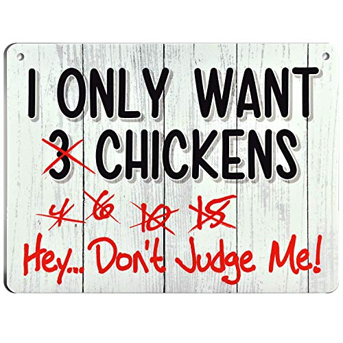 Bigtime Signs I Only Want Chickens - Funny Coop  Farm  Home  Kitchen  Outdoor  Rooster/Hen House Decorations - 2 Holes for Easy Hanging  Strong Material - Silly Decor for Poultry Fans - 9 x 12 inch