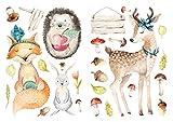 dekodino Pegatina de pared animales del bosque de acuarela hueva zorra erizos