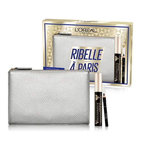 L Oréal Paris Idea Regalo Donna Natale 2020, Pochette con Mascara Volumizzante Voluminous e Matita Occhi Nera Le Khol