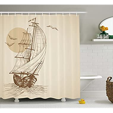 Ambesonne Beige Shower Curtain Nautical Maritime Art Paintings Decor by, Love Sailor Old Wooden Sailboat on Ocean Waves with Marine Seabirds Seagulls at Sunset Scenery Bathroom Fabric,Brown