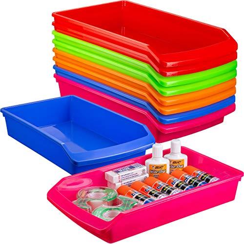 Zilpoo 10 Pack – Plastic Shelf Bins, Closet Shelves Organization Trays, Low Profile Colorful Classroom Pencil, Crayon, School Supplies Drawer Organizer Storage Baskets